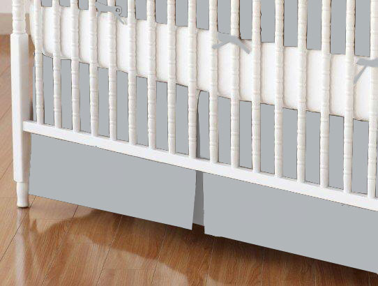 Mini Crib Skirt - Solid Grey Woven