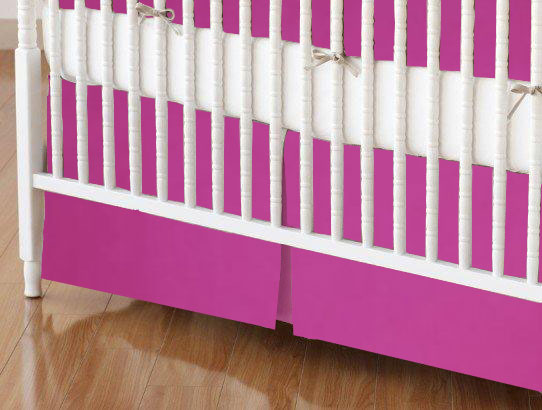 Crib Skirt - Hot Pink Woven