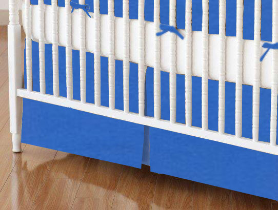 Crib Skirt - Royal Blue Woven 28x52