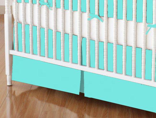 Crib Skirt - Solid Aqua Woven