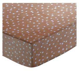Cloudy Stars Camel Portable / Mini Crib Sheet 24 x 38