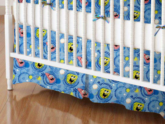 Mini Crib Skirt - Sponge Bob Circles