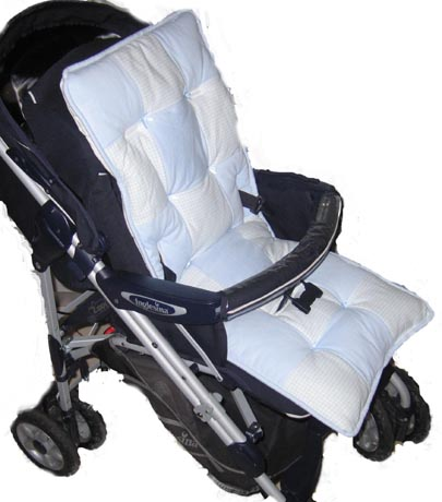 Light Blue Gingham Check Stroller Liner
