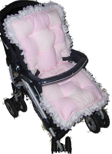 Pink Gingham Patch Stroller Liner