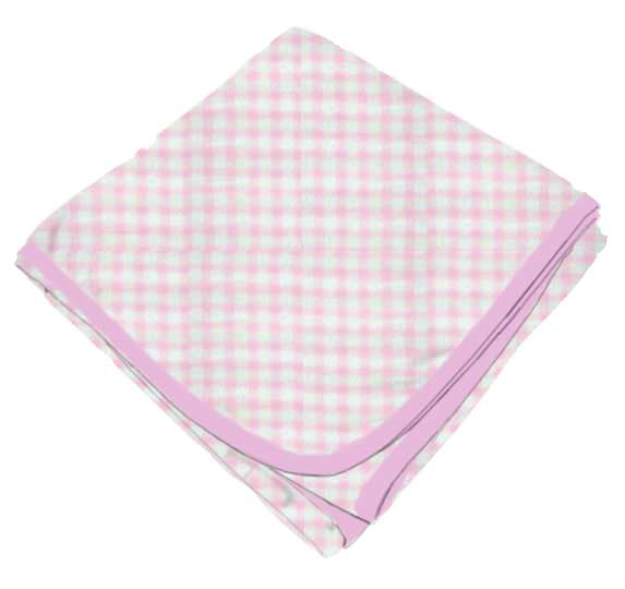 Pink Gingham Check Receiving Blanket