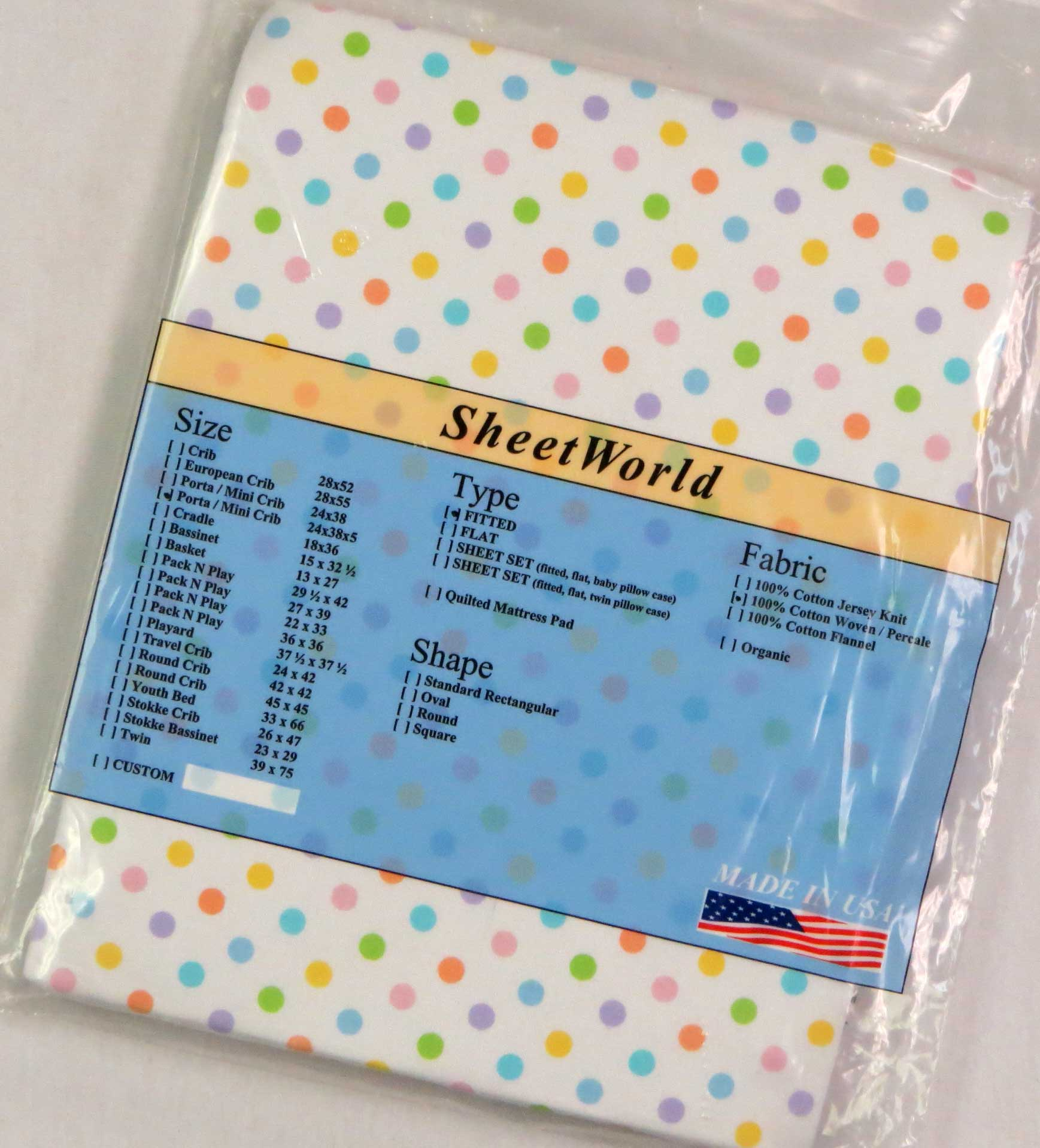 Pastel Colorful Dots Cotton Portable / Mini Crib Sheet - 24 x 38 x 5
