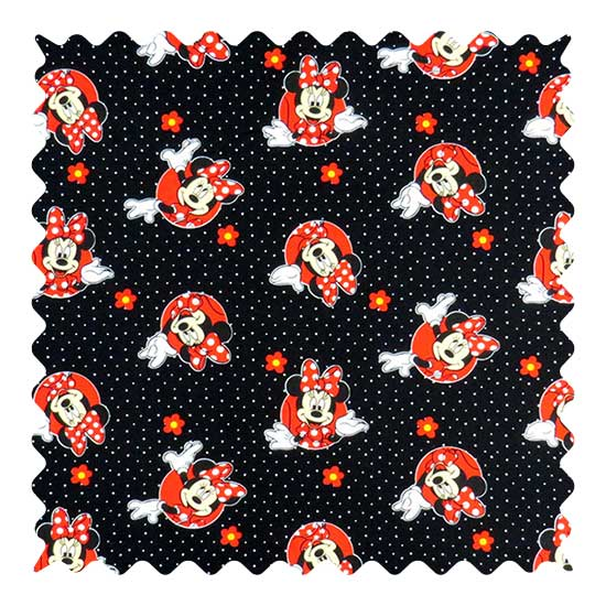 Minnie Mouse Black Fabric - 100% Cotton - 32 x 39 inches