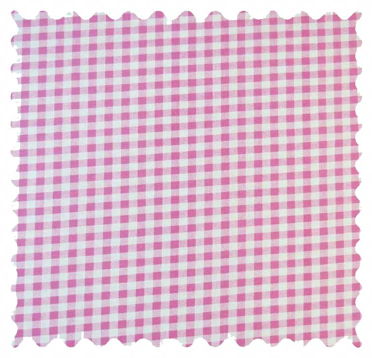 Pink Gingham Check Fabric - 100% Cotton - 19 x 44 inches