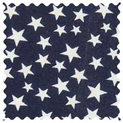 Primary Stars White On Navy Woven Fabric