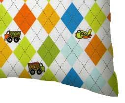 Percale Pillow Case - Argyle White Transport