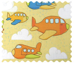 Fabric Shop - Airplanes Yellow Fabric - Yard - 100% Cotton Percale - Baby Transport Fabric Shop