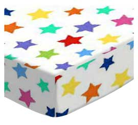 Pack N Play (Large) - Primary Colorful Stars On White Woven - Fitted - 100% Cotton Woven - Primary Hearts and Stars Pack N Play Sheets