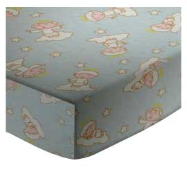 Portable / Mini Crib - Angels Blue - Fitted 24x39x5.5 - 100% Cotton Flannel - Flannel Portable / Mini Crib Sheets
