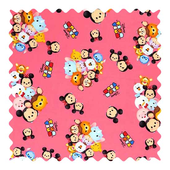 Tsum Tsum Pink Fabric - 100% Cotton - 31 x 42 inches