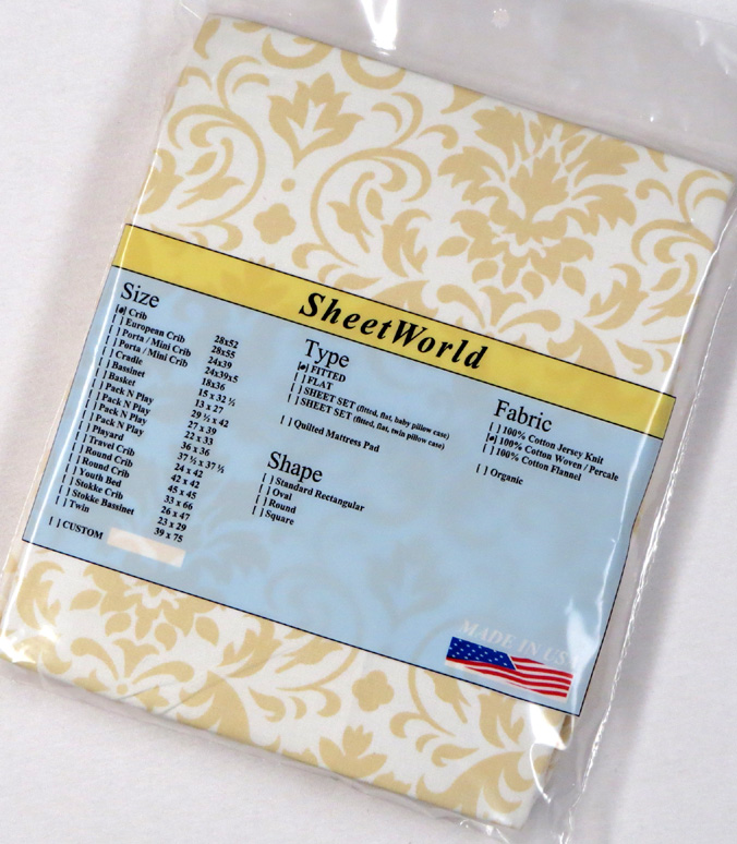 Cream Damask Cotton Fitted Crib Sheet 28 x 52