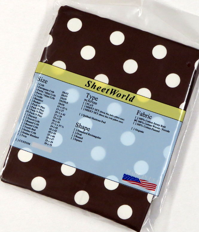 Polka Dots Brown - Cotton Percale Fitted Square Playard Sheet Fits Graco TotBloc 36 x 36