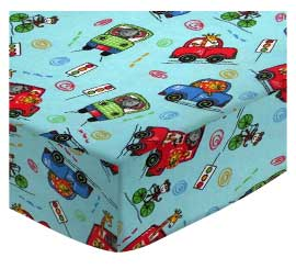 Portable / Mini Crib - Animal Traffic Blue - Matching Dust Ruffle - 100% Cotton Flannel - Baby Animal Prints Portable / Mini Crib Sheets