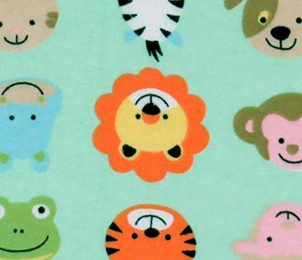 Animal Faces Aqua Fabric