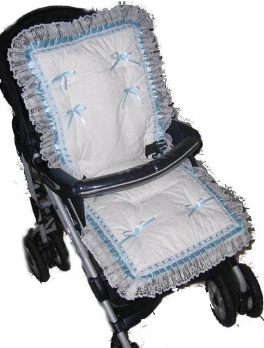 Eyelet Blue Satin Stroller Liner