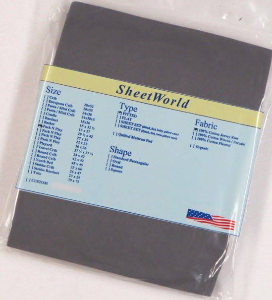 Dark Gray Cotton Jersey Fitted Pack N Play Sheet - Fits Graco - 29 x 42