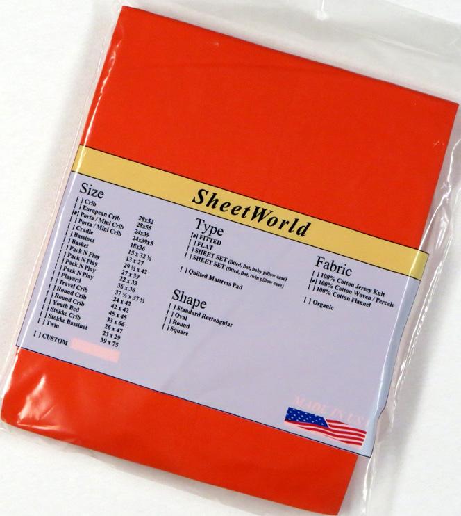 Solid Orange - Cotton Portable / Mini Crib Sheet - 24 x 38