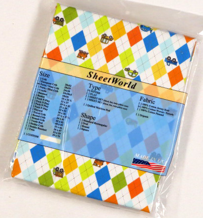 Argyle Transport Cotton Portable / Mini Crib Sheet - 24 x 38
