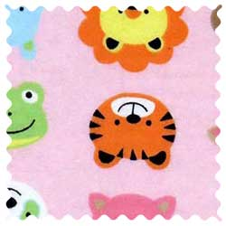 Animal Faces Pink Fabric