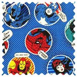 Marvel Comics Blue Circles Fabric