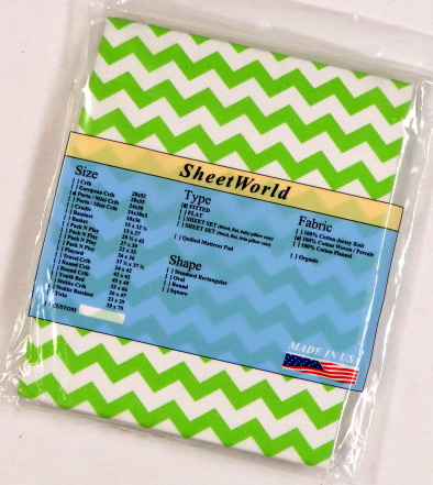 Lime Green Chevron Cotton Portable / Mini Crib Sheet - 24 x 38
