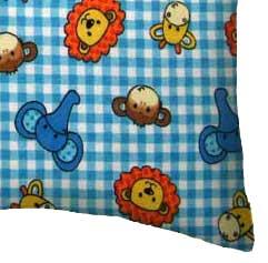 Flannel Pillow Case - Safari Animals Blue Check