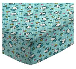 Round Crib - Hello Kitty Blue - 42'' Fitted - 100% Cotton Flannel - Character Prints Round Crib Sheets