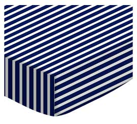 Bassinet - Primary Navy Stripe Woven - Fitted - 100% Cotton Woven - Primary Stripes and Ginghams Bassinet Sheets