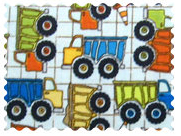 Fabric Shop - Construction Trucks Blue Fabric - Yard - 100% Cotton Percale - Baby Transport Fabric Shop