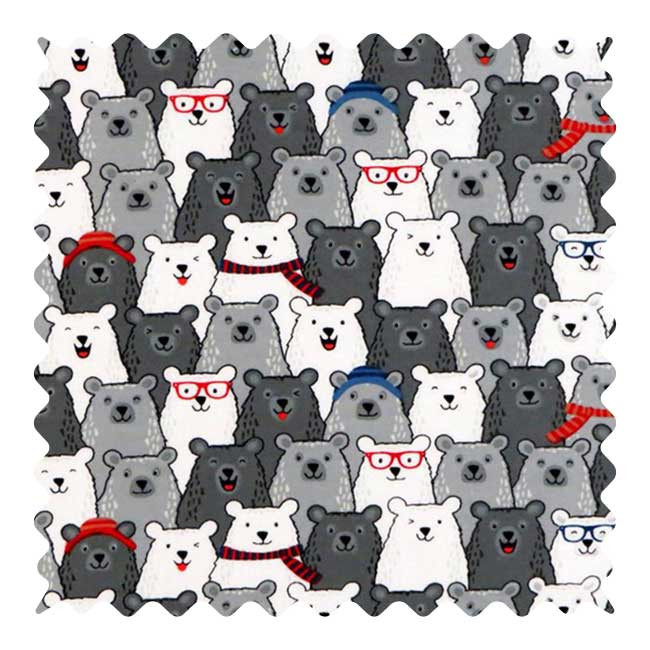 Polar Bears Fabric - 100% Cotton Flannel - 28 x 43 inches