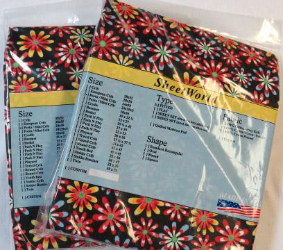 2 Pack - Floral Black Portable / Mini Crib Sheets
