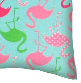 Twin Pillow Case - Flamingos Aqua Jersey Knit