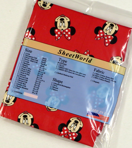 Minnie Mouse Red Cotton Travel Lite Playard Sheet - Fits BabyBjorn 24 x 42