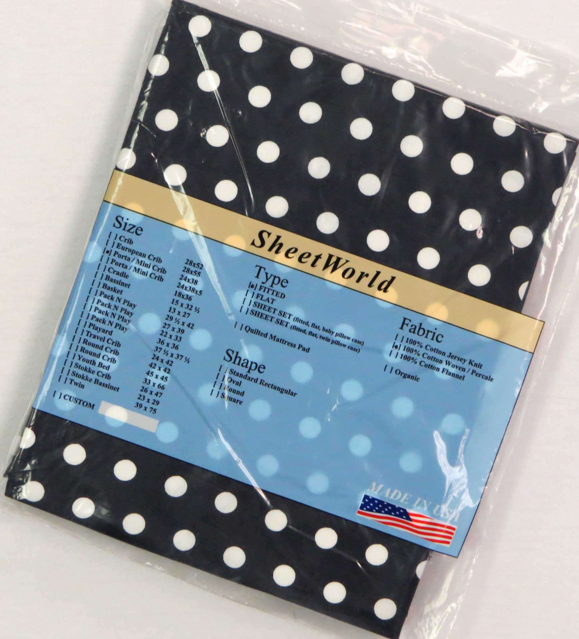 White Polka Dots Navy Cotton Portable / Mini Crib Sheet - 24 x 38