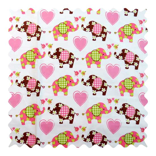 Elephant Love Fabric - 100% Cotton - 20 x 42 inches