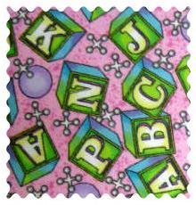 Fabric Shop - ABC Blocks Pink Fabric - Yard - 100% Cotton Flannel - Flannel Fabric Shop