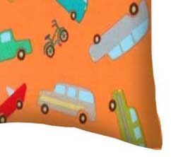 Flannel Pillow Case - Vehicles Orange