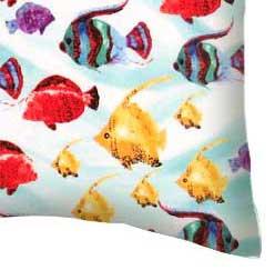 Percale Pillow Case - Exotic Fish Aqua