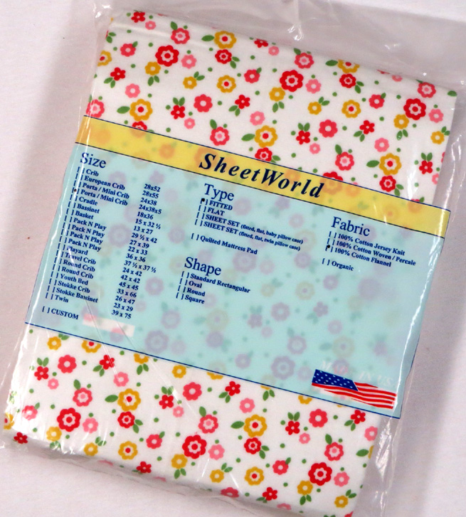 Floral Print Extra Deep Cotton Flannel Portable / Mini Crib Sheet - 24 x 38 x 5.5
