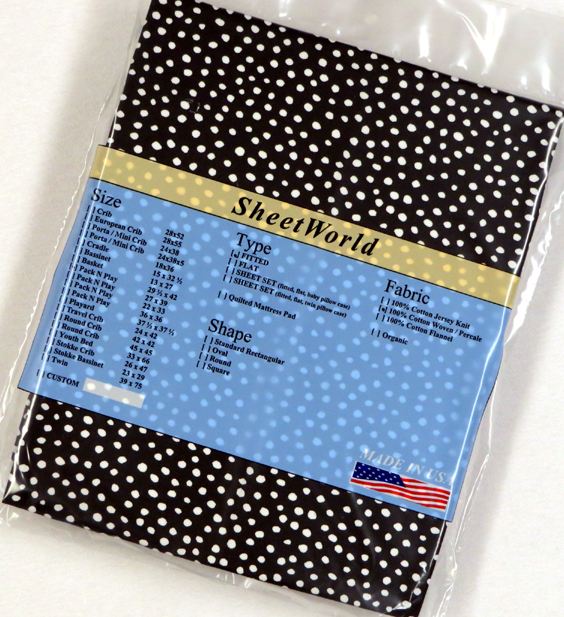 Scattered Dots Black Cotton Fitted Pack N Play Sheet - 29 x 42