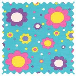 Floral Aqua Jersey Fabric