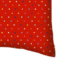 Percale Pillow Case - Primary Colorful Pindots Red Woven