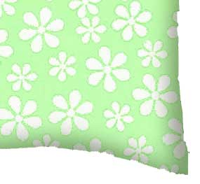 Percale Pillow Case - Pastel Green Floral Woven