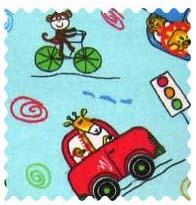 Fabric Shop - Animal Traffic Blue Fabric - Yard - 100% Cotton Flannel - Baby Animal Prints Fabric Shop