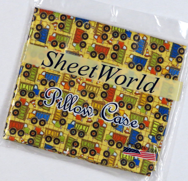 Construction Trucks Yellow Cotton Baby Pillow Case