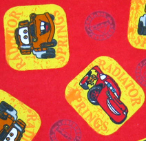 Round Crib - CARS Red - 42'' Fitted - 100% Cotton Flannel - Character Prints Round Crib Sheets
